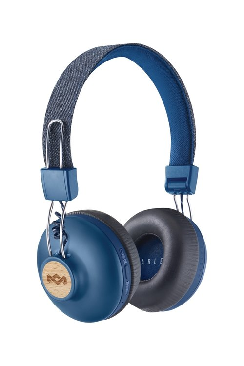 Marley Positive Vibration 2.0 BT Bluetooth On-Ear Kopfhörer mit 1-Button Remote/Mic - Denim
