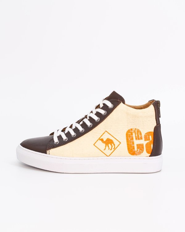 Recycling Sneaker High - Orange Small Camel