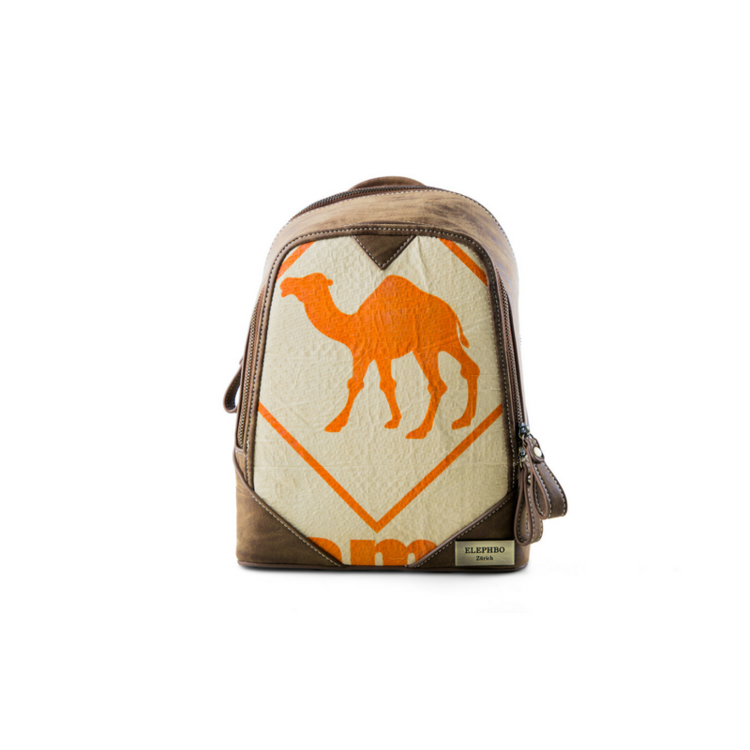 Recycling Rucksack Klein - Orange Camel