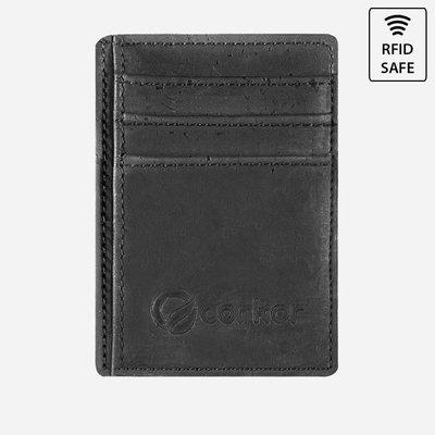 Kork Karten-Portemonnaie mit Sichtfenster Schwarz